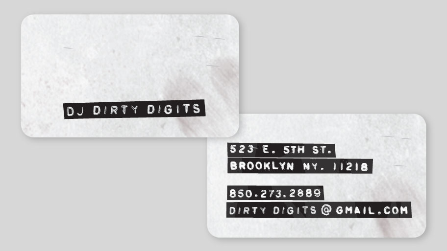 DJ Dirty Digits Business Card Image 2