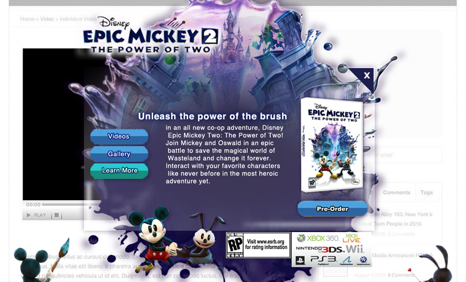 disney's epic mickey 2 ad